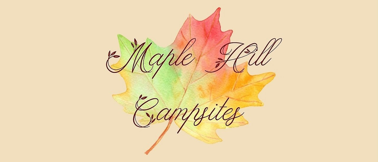 A watercolor leaf in autumn colors behind the words Maple Hill Campsites